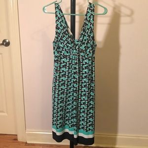Patterned teal sleeveless dress